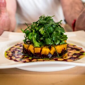 Chef presents colorful meal at Zula restaurant